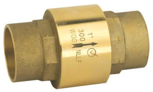 "1/2"", Soldered x Soldered, 300 PSI WOG, Lead-Free, Forged Brass, In-Line, Check Valve"