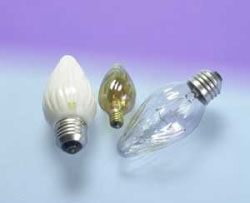 (13821) S-25F/IC/BL/2PK 25W 120V F15 IRIDESCENT FLAME SHAPE MEDIUM SCREW BASE OSRAM SYLVANIA INCANDESCENT LAMP