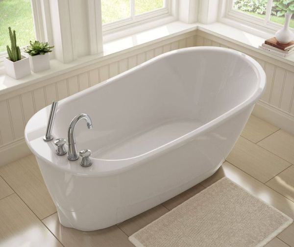 "60"" x 32"" x 24-7/8"", White, Fiberglass, End Drain, 2-Piece, Soaker, Freestanding, Bathtub"