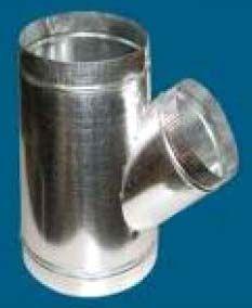 "14"" x 12"" x 6"", 28 Gauge, Galvanized Steel, 45D, Round, Lateral, Standard, Sheet Metal Wye"