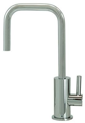"""8"""" H x 4-5/8"""" Clearance x 4"""" Reach, Lead-Free, PVD Brushed Nickel, Drinking Faucet with 1/4 Turn Ceramic Cartridge, Contemporary Round Body/Handle and 90D Spout"""