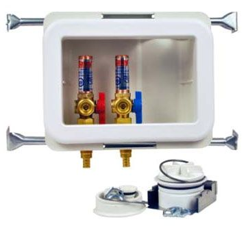 """2"""" Pipe, 1/4 Turn Brass Ball Valve, 8-1/3"""" x 3-3/4"""" x 5-1/2"""", Left/Right Drain, Washing Machine Outlet Box with Water Hammer Arrester"""