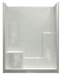 "60"" x 36"" x 77"", White, Acrylic, Left Seat, Left End Drain, 1-Piece, Shower Module"