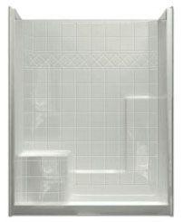 """60"""" x 36"""" x 77"""", White, Acrylic, Left Seat, Left End Drain, 1-Piece, Shower Module"""