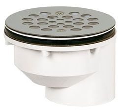 "2"", Offset Solvent Weld, Hub Outlet, Schedule 40, 430 Stainless Steel Strainer, Screw-On, Shower Drain"