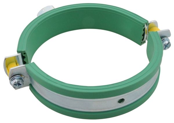 """86 to 91 MM, 5.4"""" x 4.6"""", 300 Lb, Zinc Plated, Steel, 2-Piece, Hinged, Pipe Clamp"""