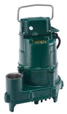 "1-1/2"", NPT Outlet, 115 VAC 60 Hz 1-Phase, 10.5 A, 1/2 HP, 3450 RPM, 77 GPM, Cast Iron Casing, Submersible, Effluent Pump"