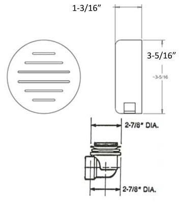 LIFT & TURN WASTE/OVERFLOW PVC SCH40 CP