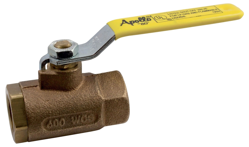 "80-103-01 1/2"" APOLLO BRONZE BALL VALVE UL LISTED FOR LP, NATURAL GAS, HEATING OIL, FLAMMABLE LIQUIDS MODEL #: 8010301"
