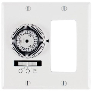 KM2ST-2D 24-HOUR, ELECTROMECHANICAL IN-WALL TIMER, 20A, 120V, WHITE, 2 GANG DECORATOR