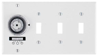 KM2ST-4G 24-HOUR, ELECTROMECHANICAL IN-WALL TIMER, 20A, 120V, WHITE, 4 GANG