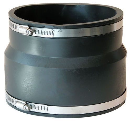 """8"""" x 4"""", Elastomeric PVC-DWV, Clay to CI/Plastic/Copper/Steel/Lead, Reducing, Flexible Coupling with Stainless Steel Clamp"""