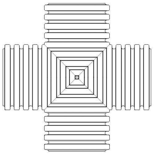 "6"" x 6"" x 6"" x 6"", Plain x Plain x Plain x Plain, HDPE, Dual Wall, Straight, Cross Tee"