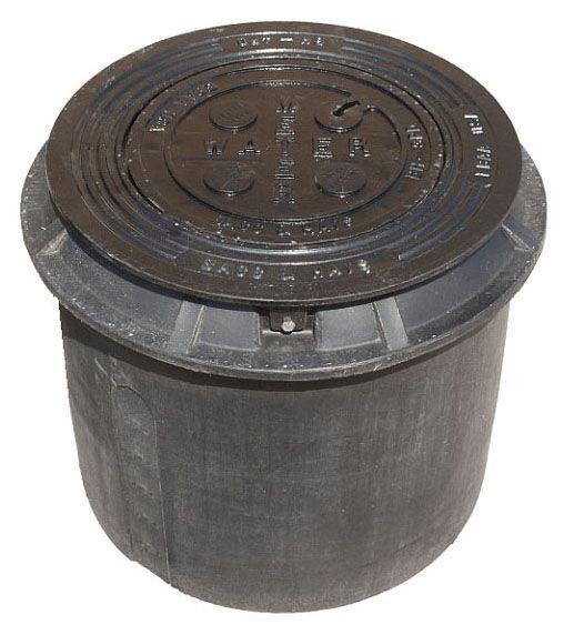 "18"" Diameter, HDPE Meter Box, Ductile Iron Ring/Locking Lid, Water Meter Logo, Heavy Duty, Meter Box"