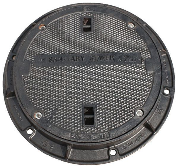 "30"" Diameter, Logo Sanitary Sewer, Grey, Cast Iron, Round, Water Tight, Dipped, Manhole Cover"