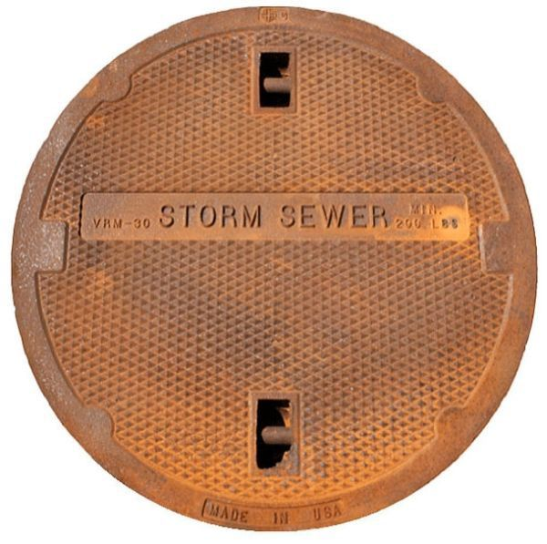 "30"" x 4"", Logo BASS Storm Sewer, Grey, Cast Iron, Round, Domestic, Manhole Cover"