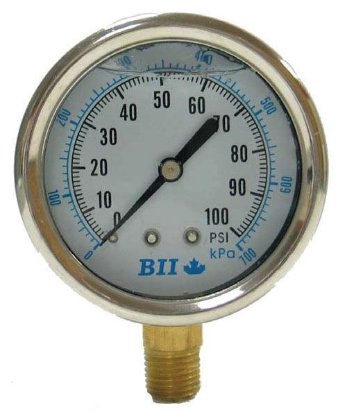 """0 to 200 PSI, 2-1/2"""" Aluminum Dial, 1/4"""" MPT Lower/Center Back, Lead-Free, 304 Stainless Steel, Glycerin Filler, Pressure Gauge"""