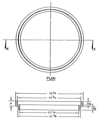 "25-1/4"" x 23-5/8"", 2"" H, Cast Iron, Round, Manhole Riser Ring"
