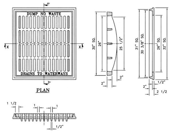 """32"""" x 32"""" x 2-1/2"""" Frame, 30"""" x 30"""" Grate, Cast Iron, Standard, Drainage Frame and Grate"""
