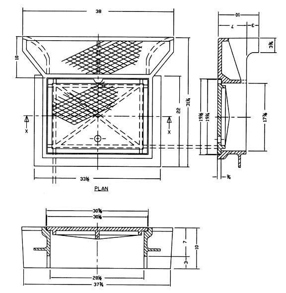 """30-5/8"""" x 10"""" Frame, 37-3/4"""" Cover, Cast Iron, Catch Basin Frame and Cover"""