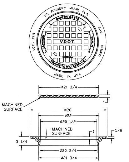 """28"""" x 3-1/4"""", Cast Iron, Standard, Domestic, Manhole Frame and Cover"""