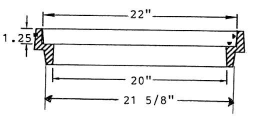"22"" x 21-5/8"", 2"" H, Cast Iron, Round, Manhole Riser Ring"