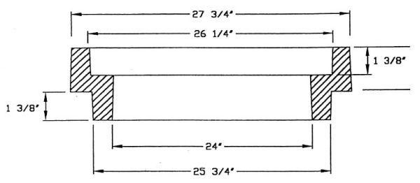 "27-3/4"" x 25-3/4"", 2"" H, Cast Iron, Round, Manhole Riser Ring"