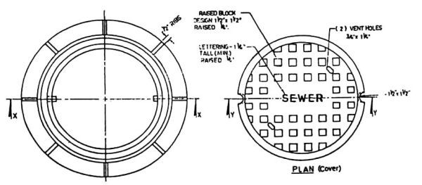 "34"" x 10-1/4"" Frame, 25-3/4"" Cover, Logo Sewer, Cast Iron, Manhole Frame and Cover"