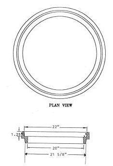 "1-1/2"", Grey Cast Iron, Round, Riser for Manhole"