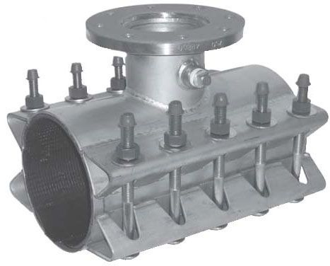 """8"""" Pipe, 8"""" Branch, 8.95 to 9.35"""" OD, 225 PSI, Lead-Free, SBR Gasket, Stainless Steel Body/Flange, Heavy Duty, Tapping Sleeve"""