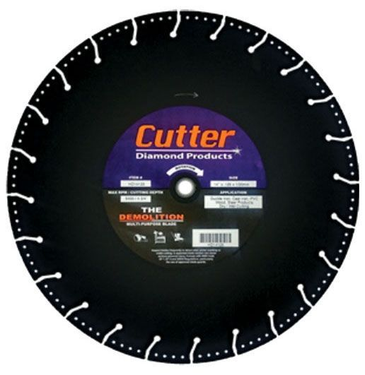 """14"""" x 0.125"""", 1""""/20 MM Bore, Silicon Carbide, Demolition, Floor Saw Blade for Ductile Iron/Cast Iron/PVC/Wood and Steel Studs"""