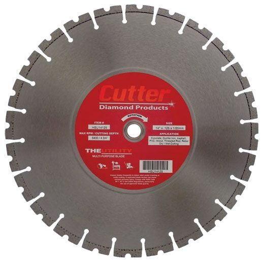 "14"" x 0.125"", 1""/20 MM Bore, Multi-Purpose, Floor Saw Blade for Concrete/Asphalt/Ductile Iron/PVC/Wood"