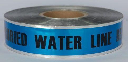"2"" x 1000' x 5 Mil, Blue, Polyethylene, Legend: CAUTION: WATER LINE BURIED BELOW, Detectable, Marking Tape"