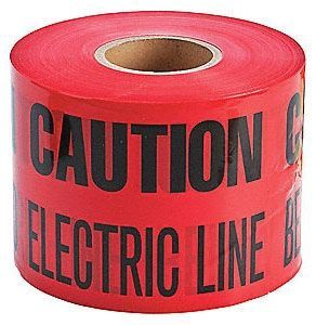 "3"" x 1000' x 5 Mil, Red, Polyethylene, Legend: CAUTION: ELECTRIC LINE BURIED BELOW, Detectable, Marking Tape"
