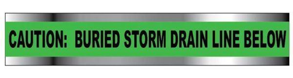 "2"" x 1000' x 5 Mil, Green, Polyethylene, Legend: CAUTION: STORM DRAIN BURIED BELOW, Detectable, Marking Tape"