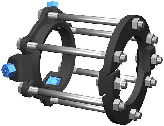 """10"""", 350 PSI, Ductile Iron, Split Ring, Restraint Harness for Belled Ductile Iron Pipe"""