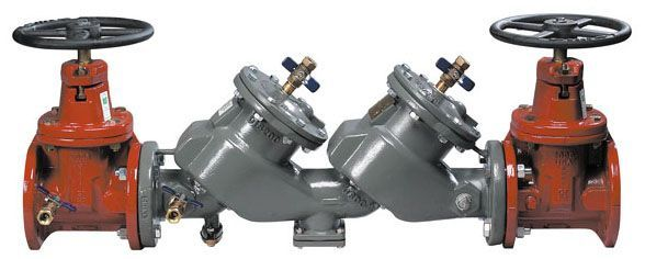 """4"""", 175 PSI, Lead-Free, Fusion Bonded Epoxy Coated, Ductile Iron, Double Check Valve, Backflow Preventer with Outside Stem and Yoke Shut-Off Valve"""