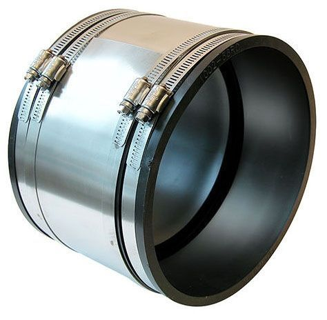 "6"" x 6"", PVC-DWV, Clay to Asbestos Concrete/Ductile Iron, Straight, Flexible Coupling with 300 Stainless Steel Clamp"