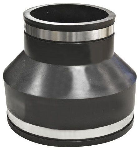 """6"""" x 4"""", Elastomeric PVC-DWV, Concrete to Cast Iron/Plastic, Reducing, Flexible Coupling with 300 Stainless Steel Clamp"""