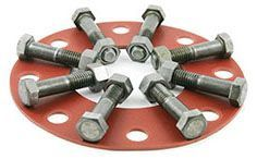"6"", 150 PSI, Plain Carbon Steel Bolt/Nut, 1/8"" Thick Red SBR Full Face Gasket, Flange Pack"