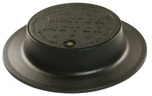"20-1/8"" Diameter Cover, 4"" Frame, Black Epoxy Coated, Cast Iron, Water Meter Logo, Type A, Locking Overlapping Insert Lid, Meter Box Lid Cover"