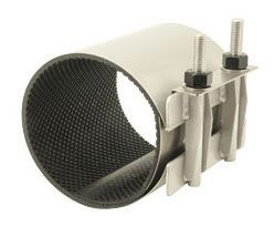 """2"""" Pipe, 2.35 to 2.63"""" OD, 12-1/2"""" L, Passivated, Stainless Steel, SBR Gasket, Circle, Single Band, Pipe Repair Clamp"""