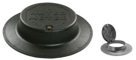 """20-1/64"""" Diameter Cover, 4"""" Frame, Black Epoxy Coated, Cast Iron, Water Meter Logo, Type X, Locking Overlapping Single Lid, Hinged, Meter Box Lid Cover"""