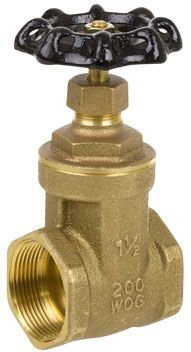 "1-1/2"", FPT x FPT, 200 PSI CWP/125 PSI SWP, Brass Non-Rising Stem, Cast Iron Handwheel, Brass Body, Full Port, Gate Valve"