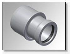 """6"""" x 4"""", Gasketed x Spigot, 235 PSI, Molded, PVC, Small End Belled, Reducer"""