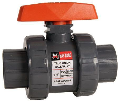 "1-1/2"", Socket/FPT x Socket/FPT, 250 PSI, Schedule 80, Lead-Free, T-Handle, PVC Body, True Union, Automated, Full Port, Ball Valve"