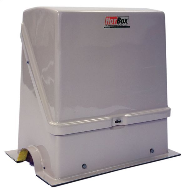 """26"""" x 13"""" x 23"""" Inside, Federal Brown Reinforced Fiberglass, Heated, Insulated, Flip Top, Enclosure with 12' Self Regulating Heating Trace Tape for Backflow Preventer"""