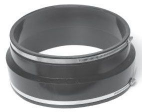 """18"""" x 18, Elastomeric PVC, Clay to Cast Iron or Plastic, Coupling with Stainless Steel Clamp"""
