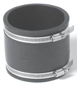 """10"""" x 10, Elastomeric PVC-DWV, Cast Iron/PVC to Cast Iron/PVC, Straight, Coupling with Stainless Steel Clamp and Amazon Shear Ring"""
