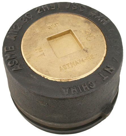 """4"""", Round Top, Schedule 40, Cast Iron, Extra Heavy Load, Push-On, Cleanout with Gasket and 3-1/2"""" Countersunk Plug"""